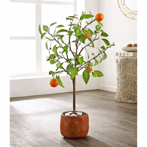 Faux Orange Potted Tree Perspective: front