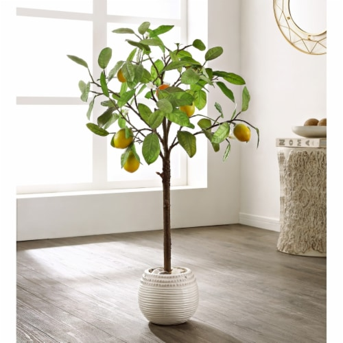 Faux Lemon Potted Tree Perspective: front