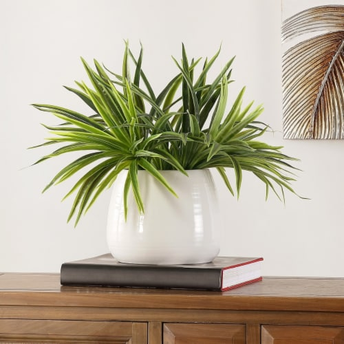 Faux Orchid Potted Plant Perspective: front