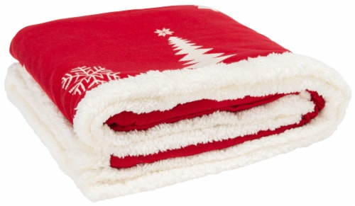 Cedar Sherpa Throw Red Perspective: front
