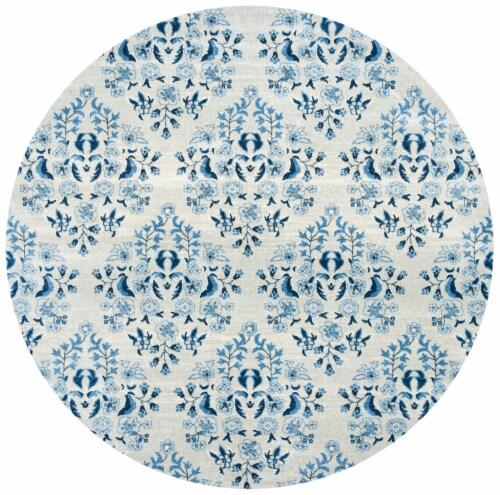 Martha Stewart Brentwood Round Area Rug - Cream / Blue Perspective: front