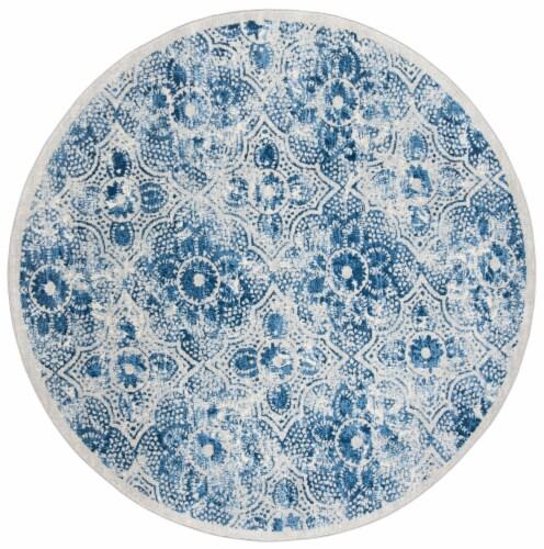 Martha Stewart Brentwood Round Rug - Cream/Blue Perspective: front