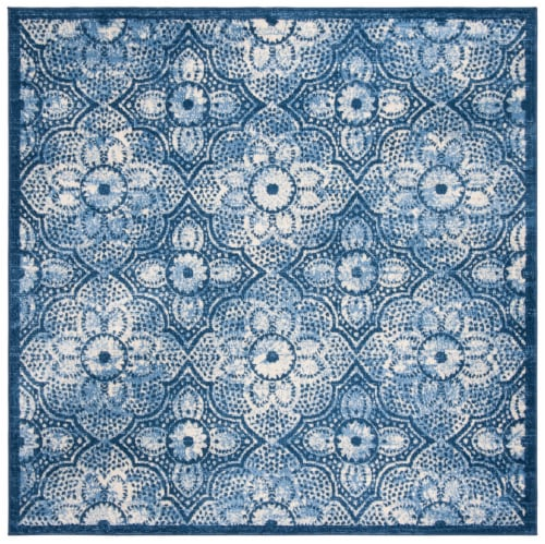 Martha Stewart Brentwood Square Rug - Navy/Creme Perspective: front