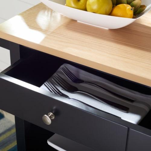 Daley 2 Drawer 3 Shelf Kitchen Cart Black Perspective: front