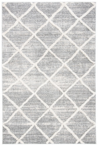 Martha Stewart Collection Lucia Shag Accent Rug - White/Light Gray Perspective: front