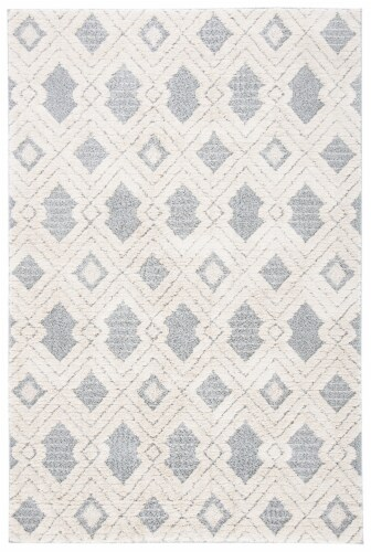 Safavieh Martha Stewart Collection Lucia Shag Geometric Accent Rug - White/Light Gray Perspective: front