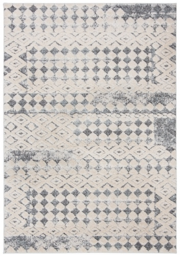 Martha Stewart Collection Lucia Shag Diamond Accent Rug - White/Light Gray Perspective: front