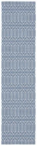 Safavieh Martha Stewart Cotton Floor Runner Rug - Blue/Gray Perspective: front