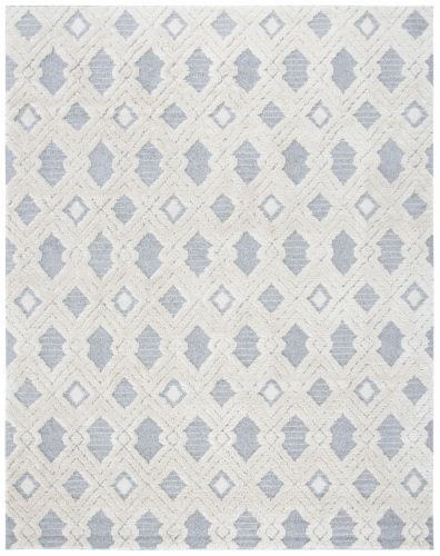 Martha Stewart Collection Lucia Shag Area Rug - White/Light Gray Perspective: front