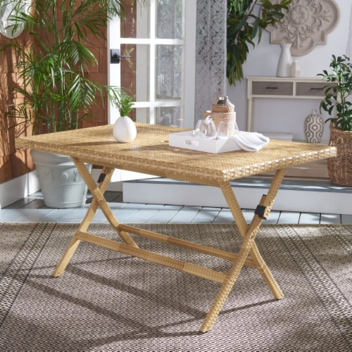 Akita Folding Table Natural / White Perspective: front