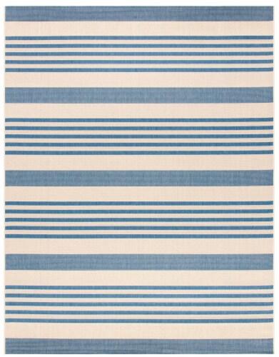 Martha Stewart Beach House Indoor Outdoor Rug - Beige/Blue Perspective: front