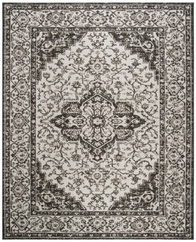 Martha Stewart Beach House Indoor Outdoor Rug - Light Grey/Charcoal Perspective: front