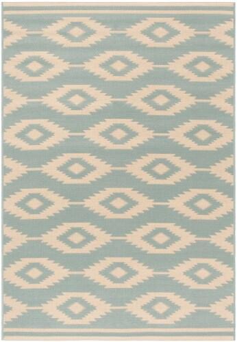 Martha Stewart Beach House Indoor / Outdoor Area Rug - Cream / Aqua Perspective: front