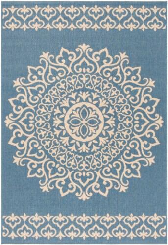 Safavieh Martha Stewart Beach House Indoor / Outdoor Area Rug - Cream / Blue Perspective: front