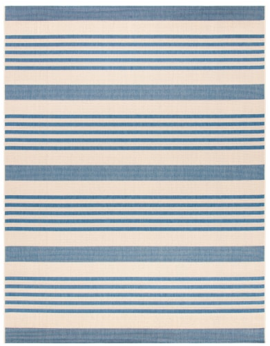Martha Stewart Beach House Indoor Outdoor Rug - Cream/Blue Perspective: front