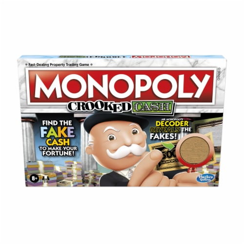 Hasbro Gaming Monopoly Crooked Cash Board Game Perspective: front