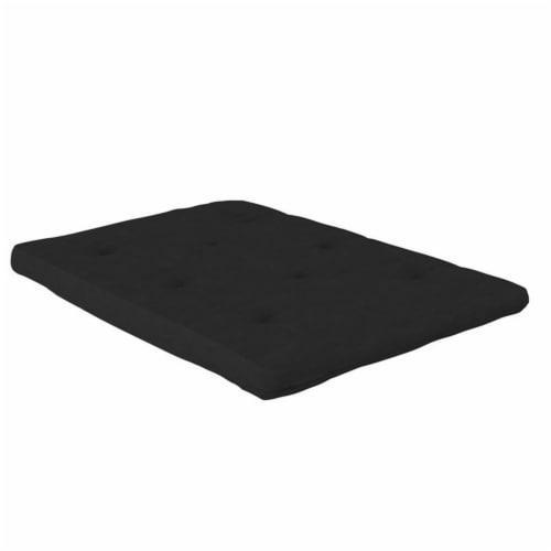 Pemberly Row 6 Inch Futon Mattress Full in Black Microfiber Perspective: front