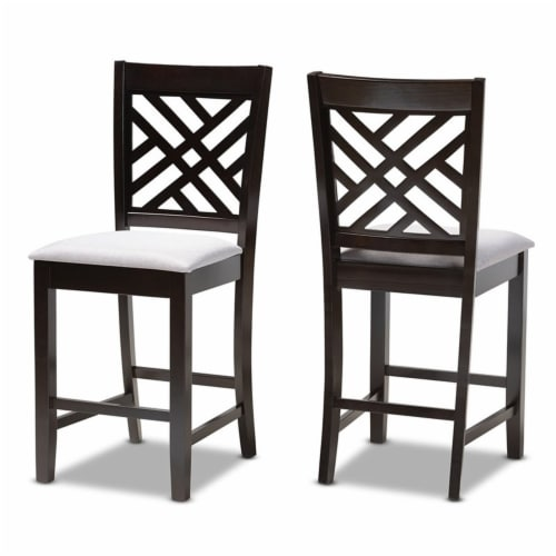 Bowery Hill 25 H Upholstered Wood Bar Stool in Gray and Brown (Set of 2) Perspective: front