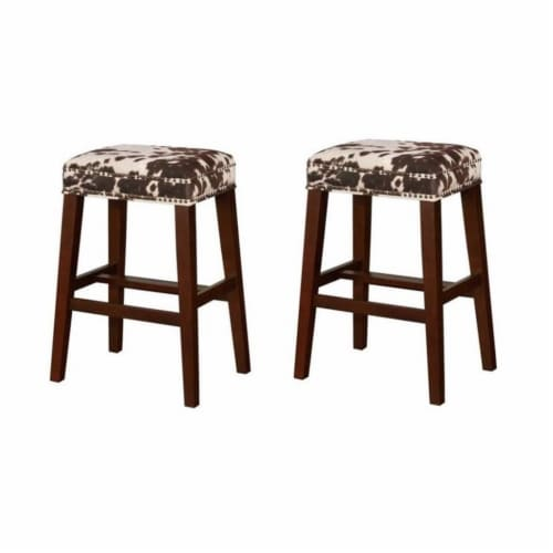 Home Square 2 Piece Wood Cow Print Bar Stool Set in Brown Perspective: front