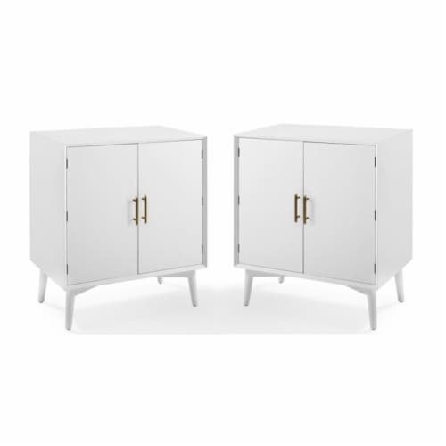 Home Square 2 Door Wood Bar Cabinet Set in White (Set of 2) Perspective: front