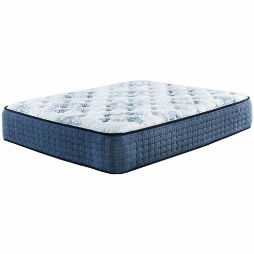 Bowery Hill 15  Queen Firm Memory Foam Mattress in White and Blue Perspective: front