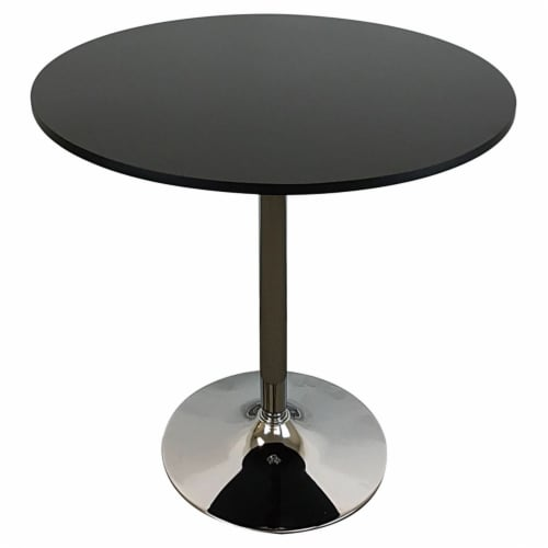 Pemberly Row Round Modern Wood Dining Table in Black Perspective: front