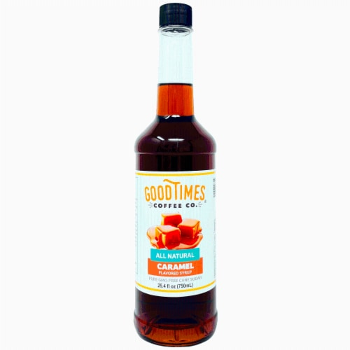 Caramel Syrup, All Natural, Vegan, Gluten-Free, Non-GMO Cane Sugar (25.4 Fluid Ounce Bottle) Perspective: front