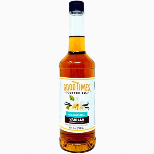 Vanilla Syrup, All Natural, Vegan, Gluten-Free, Non-GMO Cane Sugar (25.4 Fluid Ounce Bottle) Perspective: front