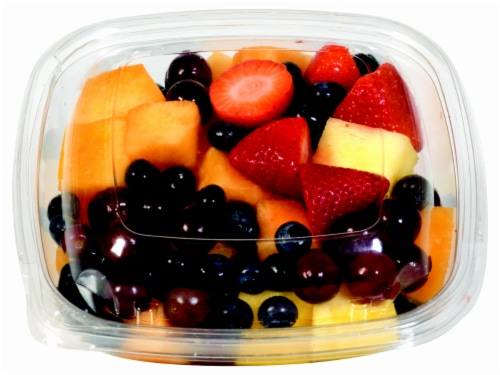 In-Store Cut Fruit Medley Medium Cup (Pineapple/Mixed Melon//Mixed Berries/Red & Green Grapes/Kiwi) Perspective: front
