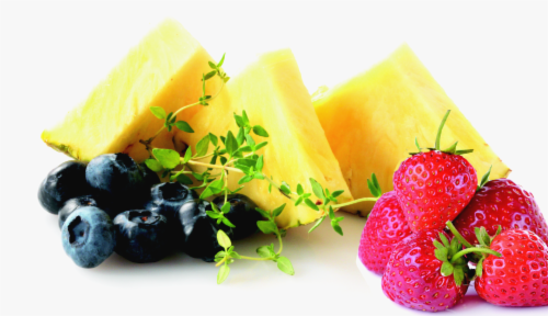 In-Store Cut Tropical Fruit Large Cup (Pineapple/Strawberries/Blueberries) Perspective: front