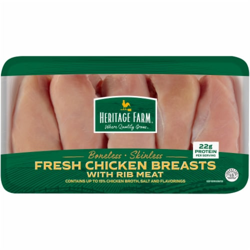 Heritage Farm™ Boneless & Skinless Chicken Breasts with Rib Meat Perspective: front
