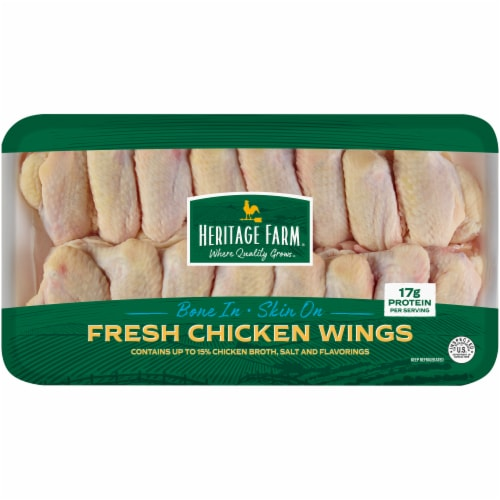 Heritage Farm® Chicken Wings Bone In & Skin On (14-17 per Pack) Perspective: front