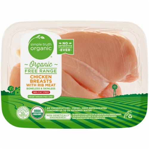 Simple Truth Organic™ Free Range Boneless & Skinless Chicken Breast with Rib Meat (2-3 per Pack) Perspective: front