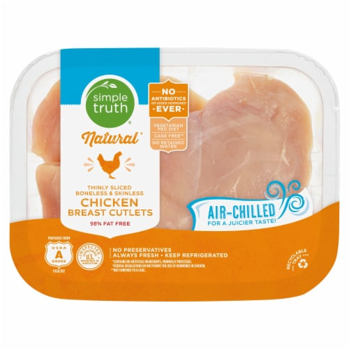 Simple Truth® Thinly Sliced Boneless and Skinless Chicken Breast Cutlets Perspective: front