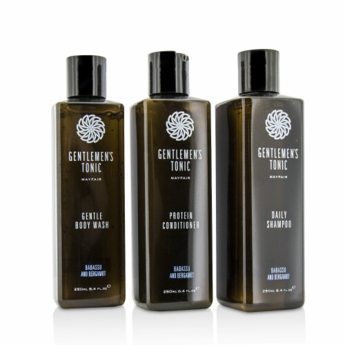 Gentlemen's Tonic Shower Gift Set: Gentle Body Wash 250ml + Daily Shampoo 250ml + Protein Con Perspective: front