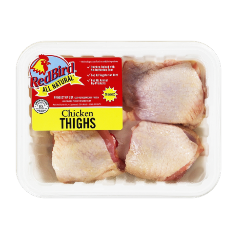 Red Bird Farms All Natural Chicken Thighs Perspective: front