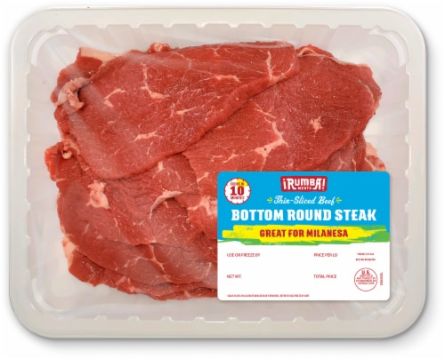 Rumba Meats Thin Sliced Bottom Round Beef Steak Perspective: front