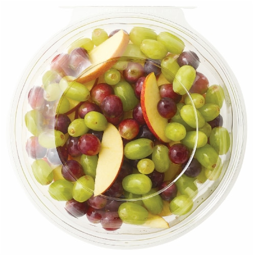 Fresh Cut Apples & Grapes Bowl Perspective: front