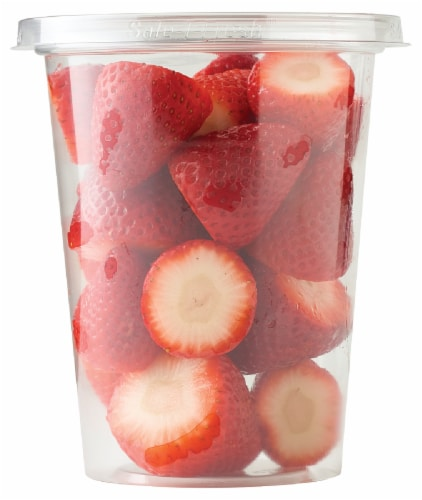 Fresh Cut Strawberries Cup Perspective: front