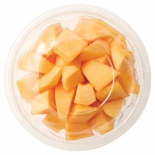 Fresh Cut Cantaloupe Chunks Perspective: front