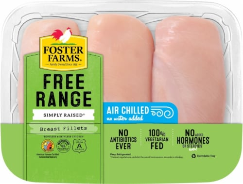 Foster Farms Free Range Simply Raised Boneless & Skinless Chicken Breast Fillets Perspective: front