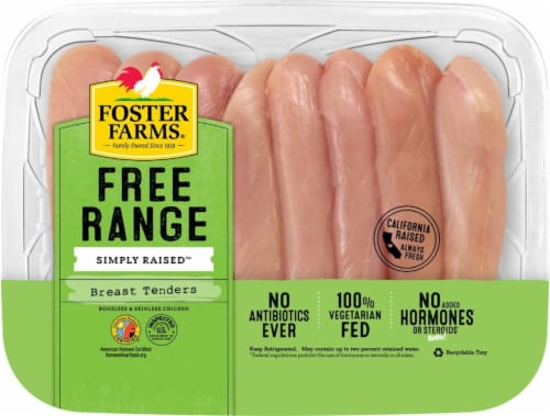 Foster Farms Free Range Simply Raised Boneless Chicken Tenders Perspective: front