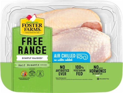 Foster Farms Free Range Simply Raised Chicken Half Breasts with Ribs Perspective: front