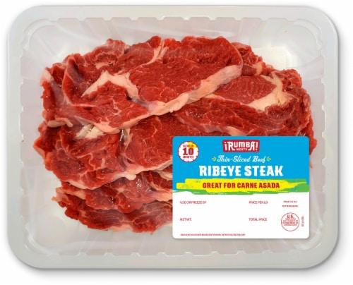 Rumba Meats Thin-Sliced Beef Ribeye Steak Perspective: front