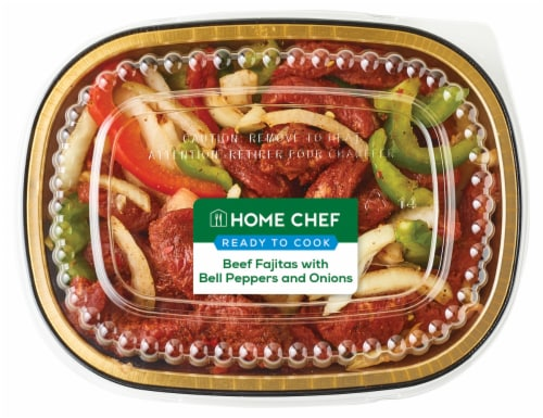 Home Chef Beef Fajitas with Bell Peppers and Onions Perspective: front