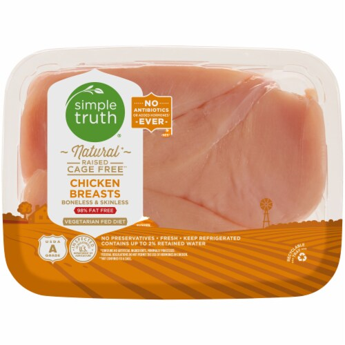 Simple Truth™ Natural Raised Cage Free Boneless & Skinless Chicken Breast Perspective: front