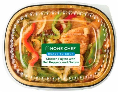 Home Chef Chicken Fajitas with Bell Peppers and Onions Perspective: front