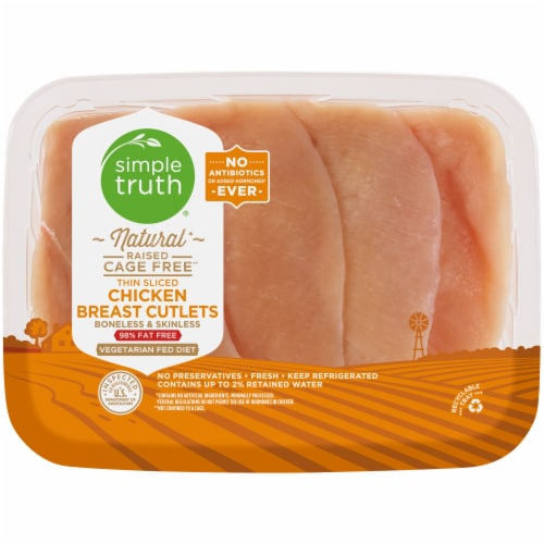 Simple Truth™ Natural Chicken Breast Cutlets Thinly Sliced (4-6 per Pack) Perspective: front
