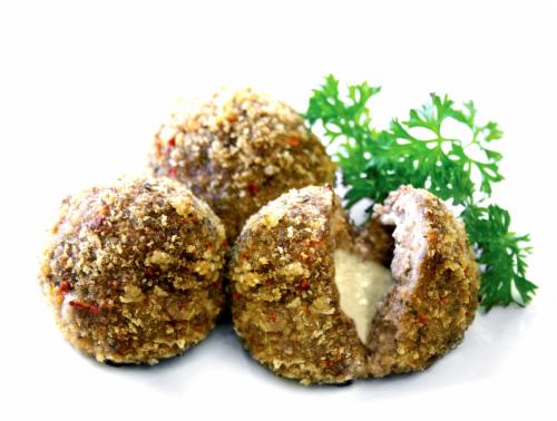Mozzarella Stuffed Pork & Beef Meatballs Perspective: front