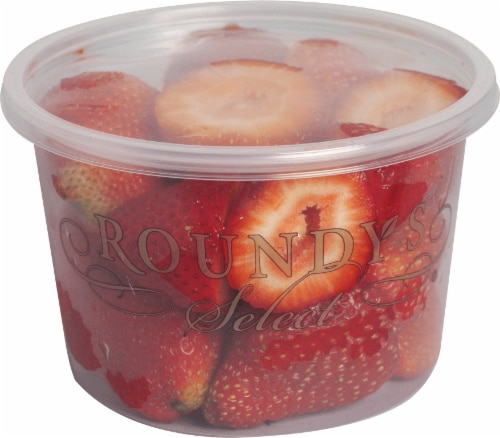 Roundy's Select Medium Strawberries Tips Cup Perspective: front